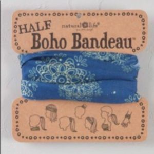 Natural Life Half Boho Headband Bandeau Blue/Cream